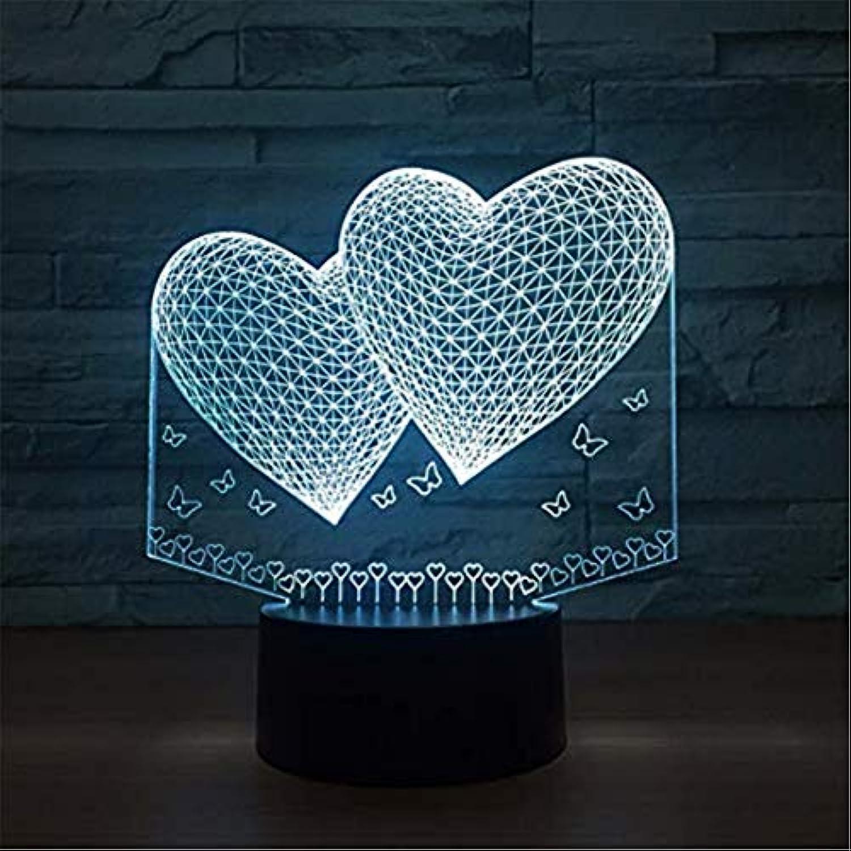 Helles Villenlicht Bunte Atmosphre 3D führte Nachtlicht-kreative Sichtliebes-Herz-Form-Tischlampe