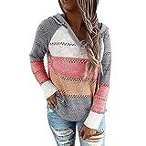 iMixCity, felpa con cappuccio da donna, con scollo a V, casual, colorata, felpa con cappuccio grigio. M