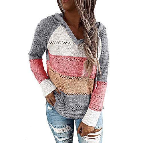 iMixCity Frauen Hollow Out Hoodie Sweater Lässige Farbblock Patchwork V-Ausschnitt Pullover Tunika Tops Sweatshir