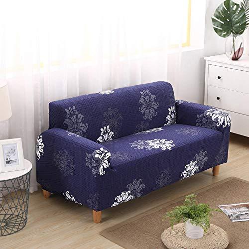 Funda Sofá Antideslizante Estuche De Flores Azul Elástico para Muebles Estampado Todo Incluido Elástico A Prueba De Polvo Sofá Cojín para Reposabrazos Sofá De Esquina 190-230Cm
