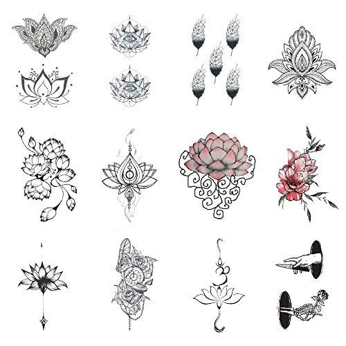 SanerLian Dandelion Lotus Flowers Temporary Tattoo Sticker Rose Sunflowers Watercolor Waterproof Women Girls Hand Arm Chest Back Body Art 10.5X6cm Set of 12 (Design3)
