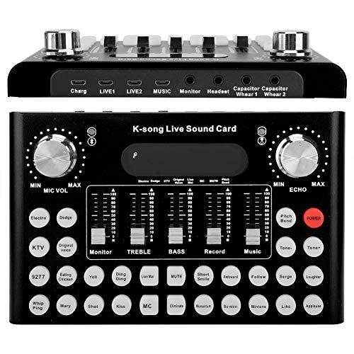 Tangxi Cambiador de Voz F007, Tarjeta de Sonido en Vivo con Bluetooth para computadora/Almohadilla de teléfono móvil, 18 Efectos Especiales y 12 Tipos de Sonidos electrónicos(Negro)