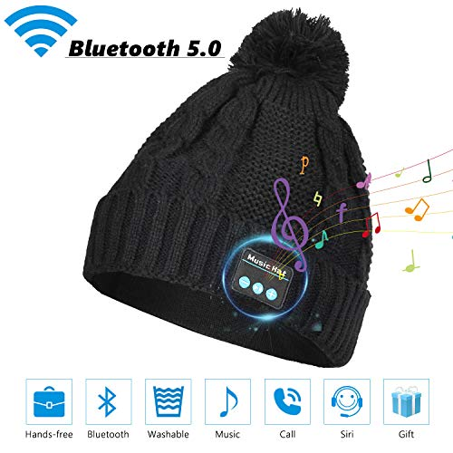 Sminiker Bluetooth Beanie Hat Ideal Stocking Stuffers Rechargeable Wireless Bluetooth V5.0 Headphone Washable Beanie Musical Hat for Winter Fitness Outdoor Sports & Christmas Gifts for Men and Women