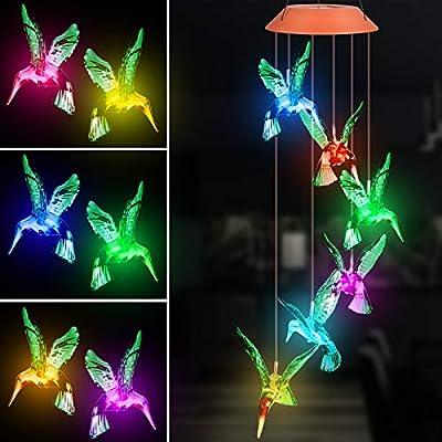 Solar Hummingbird Wind Chime, Color Changing Solar LED Lights Outdoor Waterproof Mobile Hanging Decorative Garden Light Gift for Mom, Grandma, Women, Birthday, Christmas, Anniversary