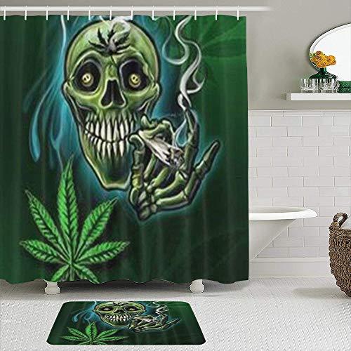 TARTINY Juego de Cortina de Ducha de 2 Piezas con alfombras Antideslizantes,Cráneo Fresco de Hierba de Hoja de Marihuana con 12 Ganchos
