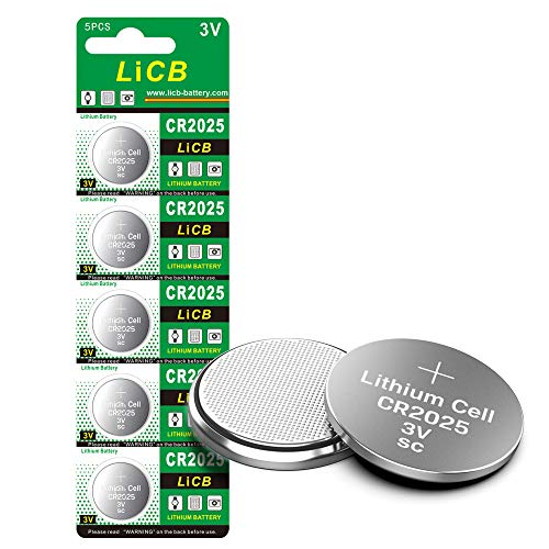 LiCB CR2025 Battery,CR2025 Lithium Batteries,3 Volt Coin & Button Cell (5-Pack)