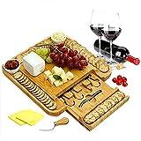 Tabla de quesos - Bandeja de bambú para Embutidos con cajón Oculto, Cheese Board Set para Vino/Galletas/Embutidos (sin vajilla)