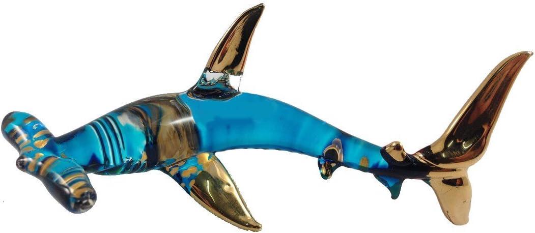 Shark Figurine Animal Hand Paint Glitter Blow Glass Art Collectible Gift Decor