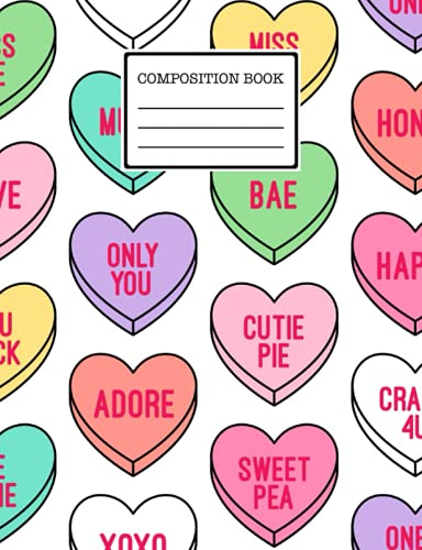 Composition Book: Kawaii Cute Hearts Notebook For Girls - Wide Ruled...