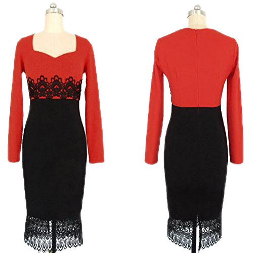 FOREVER YUNG Women's Fashion Sexy Long Sleeve Lace V Neck Cocktail Party Dresses XL
