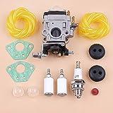 Kit de servicio de filtro de línea de combustible de válvula de retención de carburador compatible con motor 2 ciclos 43 cc Southland Mini cultivador S-CV-43 SCV43 Carb