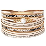 Leather Wrap Bracelets for Women, Multilayer Boho Double Wrap Bracelet Marble Beads Boho Wrap Bracelet Magnetic Clasp Cuff Bracelet Bohemian Jewelry Gift for Women (Style 14)