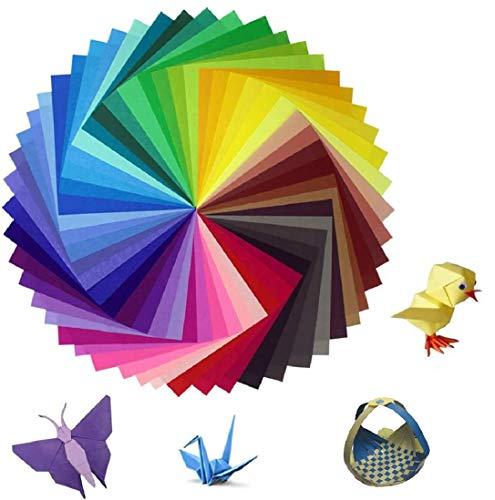 Origami Papier -150 Blätter in 50 Verschiedene Farben Origami-Papier 15x15 cm OrigamiPapier Faltpapier Doppelseitig Das bunteste Set mit DIY Handwerk Origami Papier
