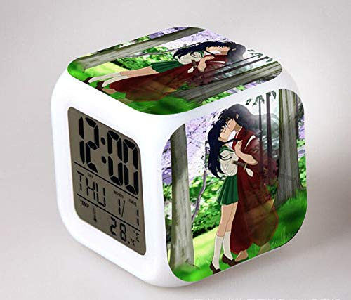 Yyoutop Anime LED 7 Color Flash Digital Alarm Clock Children Night Light Bedroom Clock reloj despertador Seven-Color Flash Digital Alarm Clock Night Light