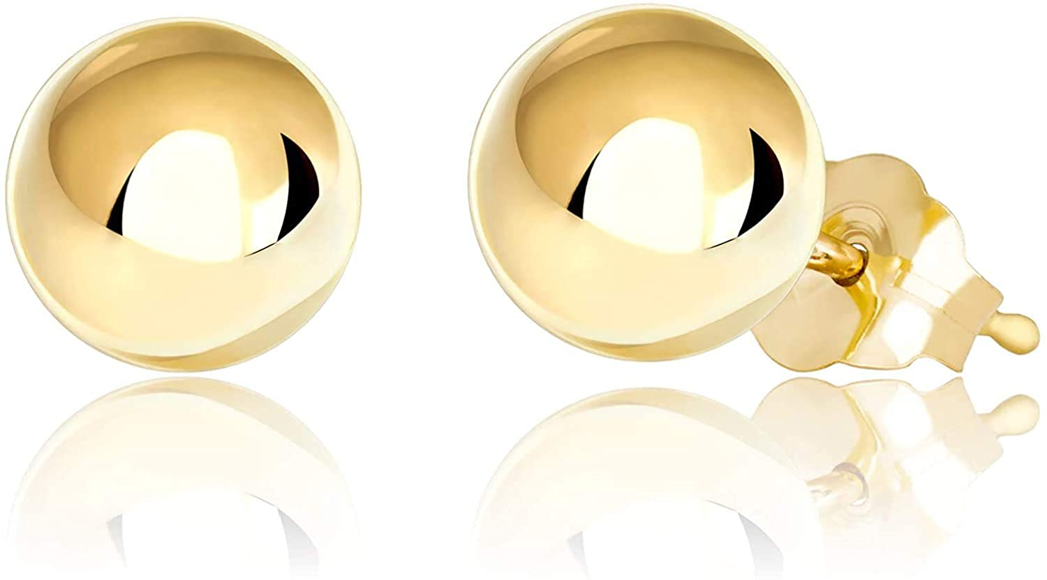 14K Yellow Gold Polished Ball Stud Earrings 3MM - 8MM, Gold Ball Earrings for Women, 14K Gold Earrings, 100% Real 14K Gold. Next Level Jewelry
