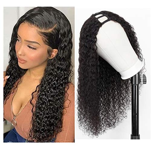 U Part Wig Human Hair Wigs for Black Women Long Curly Wig 150% Density Natural Color 20 inch