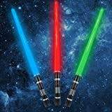 3 pack 3 colors Light Up Saber with FX Sound(Motion Sensitive) and Realistic Handle for Kid, Expandable Light Swords Set for Halloween Dress Up Parties, Xmas Present, Galaxy War Fighters and Warriors