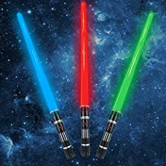 Glow In the Dark Sword set include 3 colors of Lightsaber (red, green and blue). Just press the button on the handle to Power up the FX sound and led light effects. Enjoy with your friend in game party! Light Sabers toy can be expands from 18 to 33 i...