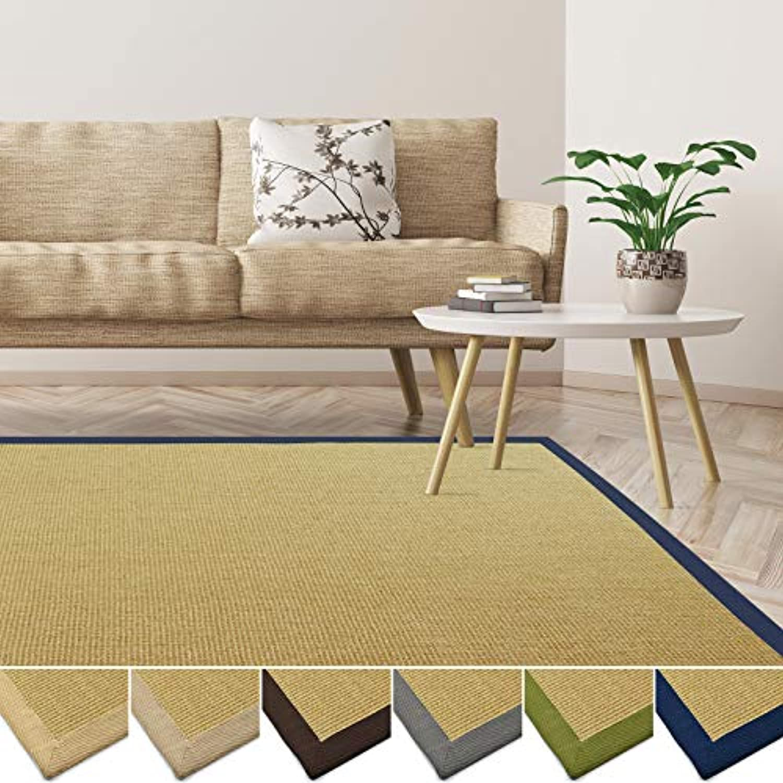 Casa pura Sisal Teppich aus Naturfasern  mit Bordüre aus Baumwolle  pflegeleicht  viele Gren und Farben (Natur Bordüre Denim, 200x290 cm)