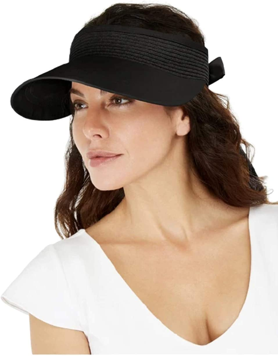 INC International Concepts Tie-Back Visor FIT Black Size Gorgeous Outlet sale feature ONE