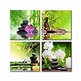 VIIVEI 4 Panneaux Moderne Décor Zen Peintures Spa Pierre Vert Bambou Rose Nénuphar Et Frangipanier Images sur Toile Mur Art Encadrée de Peinture pour la Décoration