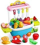 GeyiieTOYS Kinder Trolley Spielzeug mit schneiden Spielzeug, Obst und Gemüse zum Schneiden, Lebensmittel Spielküche, Küchenspielzeug, Geburtstag Geschenke für Mädchen Jungen 3-8 Jahre