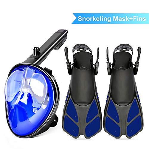 Máscara de snorkel de cara completa 180 °Plegable panorámica Máscara de buceo antiniebla Máscara de buceo Superficie curva + Aletas de buceo Snorkeling Set de snorkel para adolescentes adultos