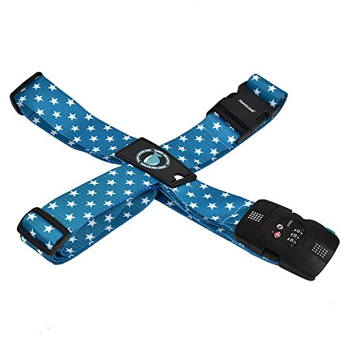 クロース(Kroeus)スーツケースベルト TSAロック 十字型 トランクベルト ワンタッチ 旅行 出張 サイズ調整可 ネームタグ付 盗難防止 カラフル 5色 ブルー