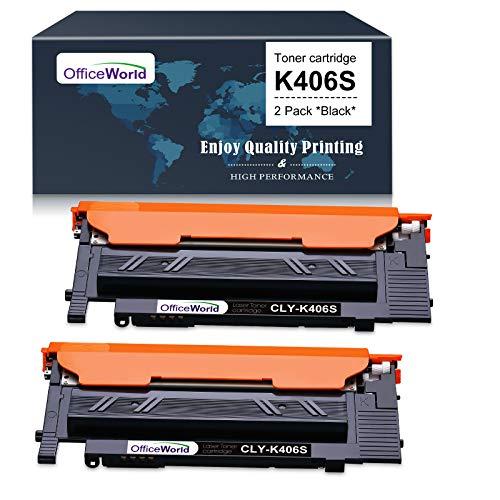 OFFICEWORLD Cartuccia Toner CLT-K406S Nero Sostituzione per Samsung CLT-K406S CLT-406S CLTK406S Toner per Samsung Xpress C460FW C410W C460 CLP-365 CLP-365W CLP-360 CLX-3305 CLX-3305FW (2 Nero)