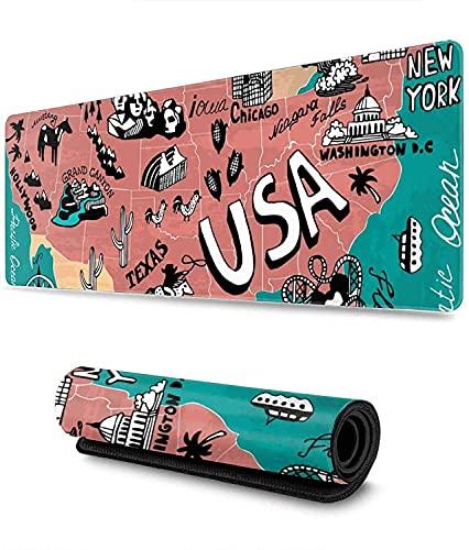 Mapa De Iconos De Estados Unidos Alfombrilla De Ratón para Juegos XXL Alfombrilla De Ratón Grande Extendida Alfombrilla De Goma Antideslizante Larga Alfombrilla De Ratón 900 × 400 mm