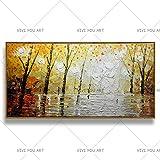 HCHD 100% À La Main Moderne Paysage Forestier Peinture À l'huile sur Toile Abstrait Mur Art Images d'arbre Épais...
