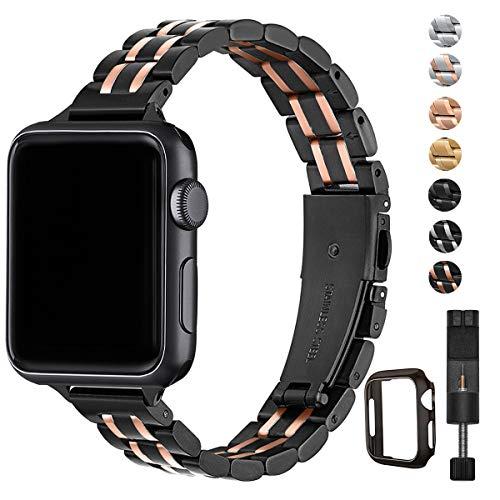 HEKAI Armband Kompatibel mit Watch Armband 38mm 42mm 40mm 44mm Metall,Schlank Verstellbare Edelstahl Ersatzbänder für die Serie 6&5/4/3/2/1,SE (38mm 40mm, Schwarz&Roségold)