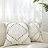 blue page Boho Neutral Diamond Decorative Throw Pillow Covers - Set of 2 Boho Pillow Cases, Cotton Woven Square 20'x20' for Sofa Bedroom Living Room, Modern Home Decor (Black Yellowy Cream)