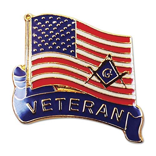 Veteran American Flag Square & Compass Masonic Lapel Pin - [Red & White][1 Tall]
