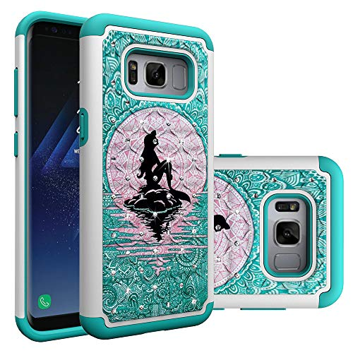 Galaxy S8 Case, S8 Hybrid Case, Heavy Duty Shockproof Studded Rhinestone Crystal Bling Hybrid Case Silicone Protective Armor for Samsung Galaxy S8 2017 Release (Mermaid)