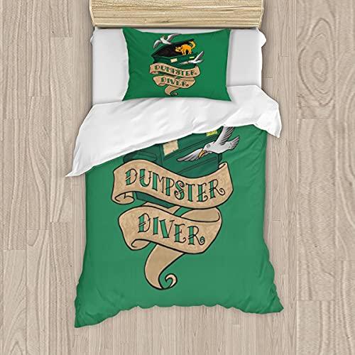 Dumpster Diver - Juego de cama de 3 piezas con 1 funda de edredón y 2 fundas de almohada, cremallera oculta, tamaño doble/matrimonial/doble XL, 137 x 203 cm