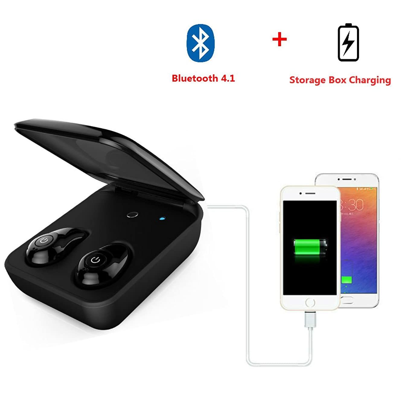 Hangang Mini HIFI Wireless Headset Sports Earbud Wireless Bluetooth Earphone Cable-Free Earbuds Sport In-Ear Headset Sweatproof Headphones Handsfree Earbud with Charging Box For android/IOS(black)