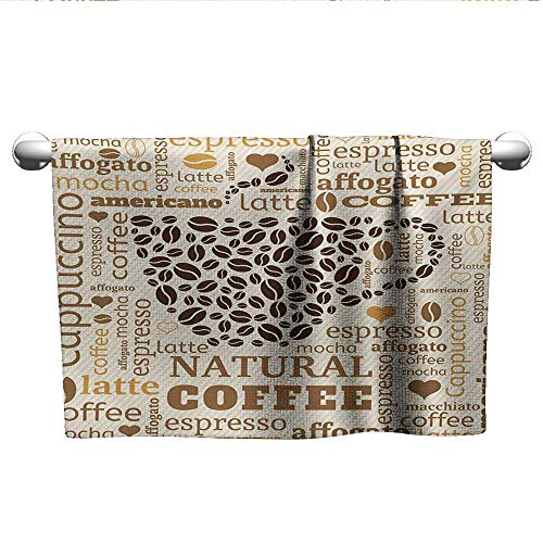 xixiBO Soft Towel W28 x L14 Modern,Latte Cappuccino Affogato Natural with Cup Shaped Coffee Beans Image,Cream Caramel and Brown Shower Towel Facial Hand