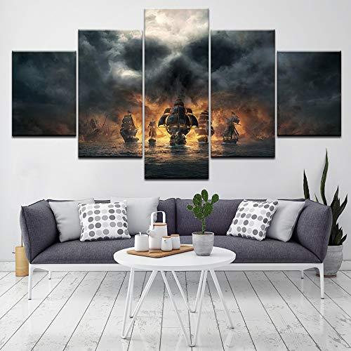 Pintura en lienzo 5 piezas Piratas del Caribe, imágenes artísticas de pared de película, fondos de pantalla modulares, póster, impresión para decoración de sala de estar(size 2)
