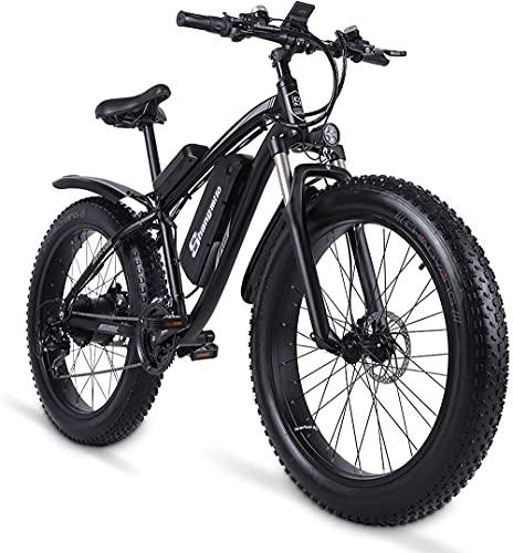 Shengmilo MX02S Bicicleta eléctrica de gran alcance de 26 'Fat Tire Bike 1000W 48V/17AH Batería eBike Ciclomotor Snow Beach Mountain Ebike Acelerador y pedal Assist (negro, batería de repuesto)