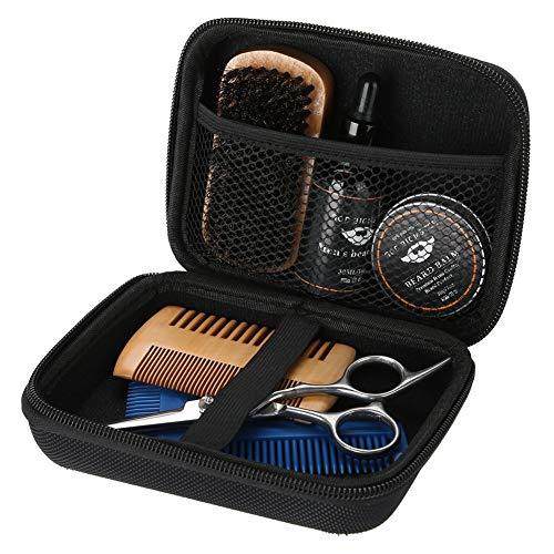 Kit de Soin de Barbe, 7PCS / Set Ensemble de soin de barbe portable avec des ciseaux, crème pour la barbe, sac de rangement, brosse à barbe, peigne à barbe et huile de barbe pour le soin des mous