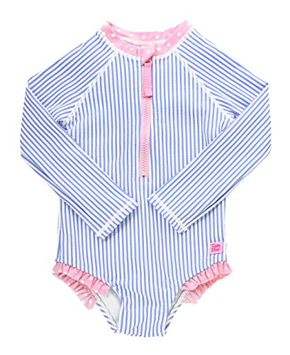 RuffleButts Girls Long Sleeve One Piece Swimsuit - Periwinkle Blue Seersucker with UPF 50+ Sun Protection - 4T