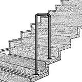 Barandilla de Escalera para peldaños de Interior y Exterior en Forma de U, Industrial, Negro Mate, de Hierro Forjado, barandilla, se Adapta a 2 peldaños para Personas Mayores discapacitadas