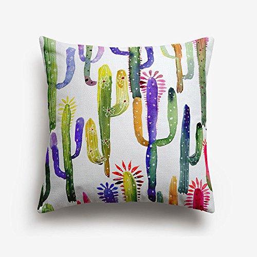 Colour Kingdom Fundas de almohadas diseño de cactus Fundas decorativas para almohada
