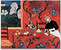 MKAN アンリマティスレッドクラシックスタイル静物キャンバスプリント絵画ポスターアート壁の写真家の装飾-60X80Cm
