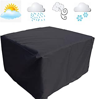 FLR 46x46x29in Patio Table Cover Square Black Waterproof Outdoor Dinner Protector Dust-Proof Table Desk Cover Furniture Covers with Storage Bags for Garden Outdoor Indoor Furniture Table