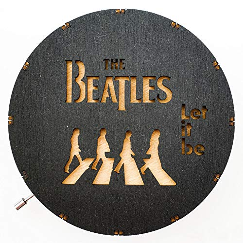 AroundTheTime Beatles Wooden Music Box (Hand Crank) 5 Inches - Let It Be, Carved (Engraved) Wood, Gift for Men & Women