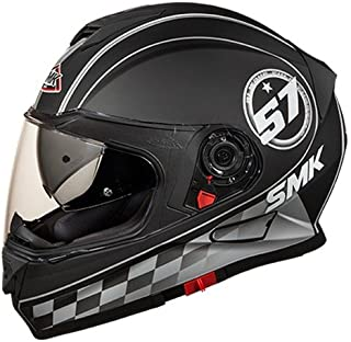 SMK MA266 Twister Blade Graphics Pinlock Fitted Full Face Helmet with Clear Visor (Matt Black with Grey, XL)