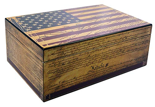 Humidor Supreme Constitution, Cigar Humidor Honoring The Supreme Law, Spanish Cedar Tray, 3 Dividers, Holds up to 100 Cigars, by Quality Importers