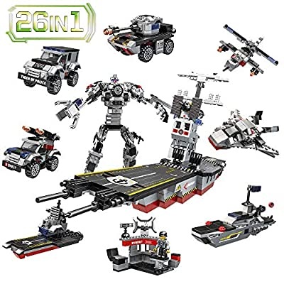Lucky Doug 1013PCS Building Bricks Set, 26 in 1 Aircraft Carrier Building Toys Can Build Transformers Maritime Command Center, Building Blocks Set Compatible with All Major Brands for Kids Ages 6+ from Lucky Doug